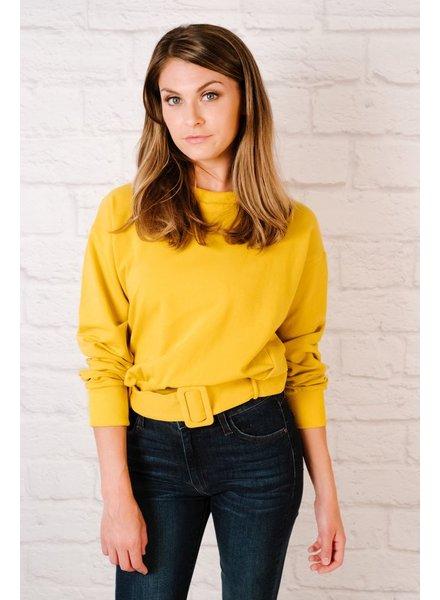 Sweatshirt Mustard Belted Bottom Sweatshirt