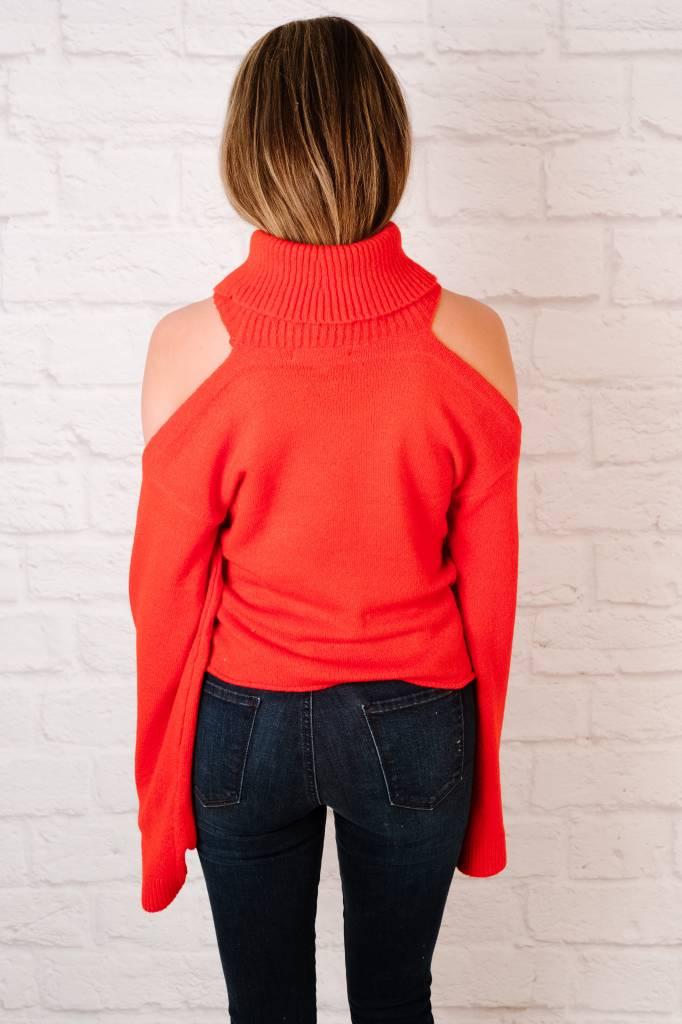 Knit Cold Shoulder Turtleneck