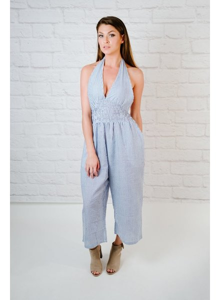 Jumpsuit Striped Halter Jumpsuit