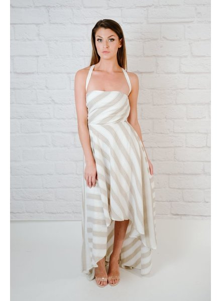 Maxi Neutral Striped High-Low Dress
