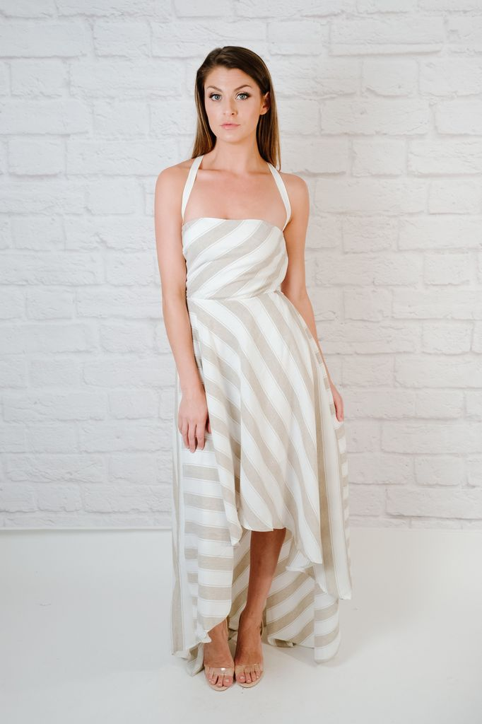 Maxi Neutral Striped High-Low Dress