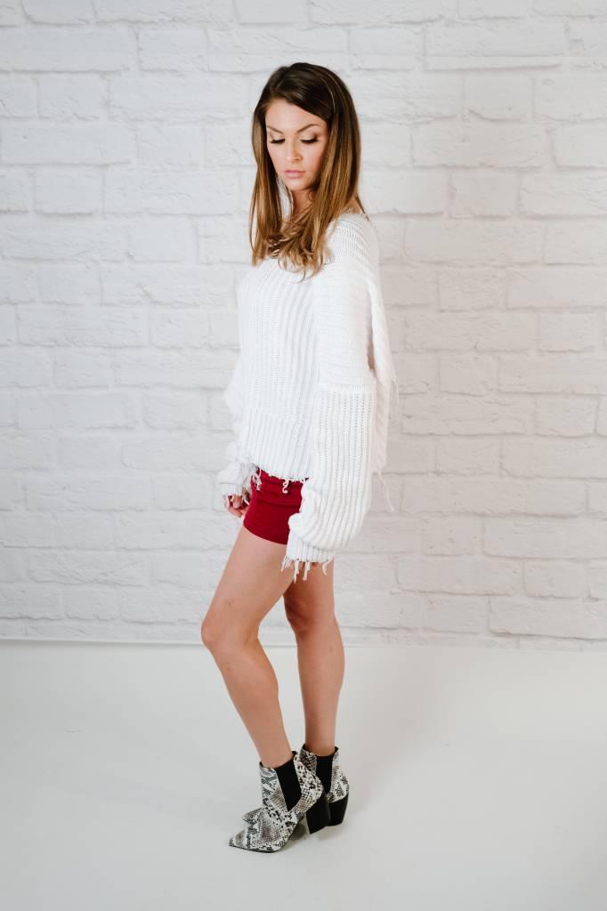 Sweater Fray Hem Boxy Knit