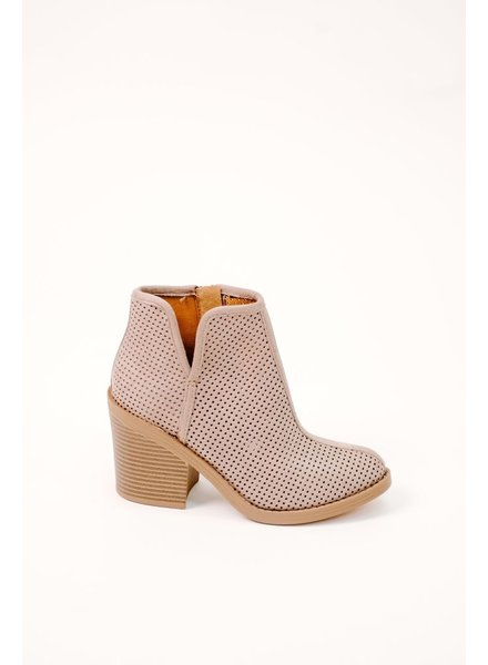 Bootie Grey Perforated Slit Bootie