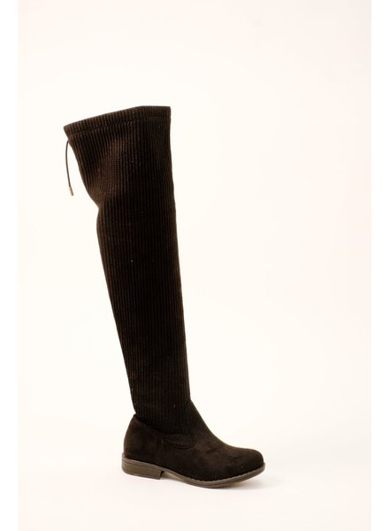 Boot Ribbed OTK Black Boot