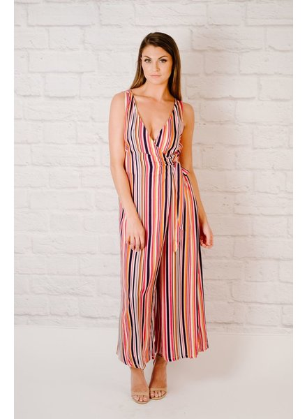 Jumpsuit Striped Wrap Front Jumpsuit