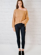Sweater Camel Drawstring Knit
