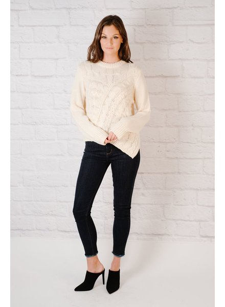 Sweater Uneven Cable Knit Sweater