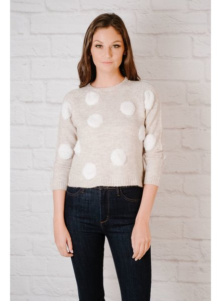 Sweater Knit Polka Dot Sweater