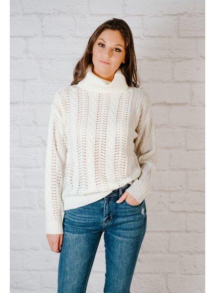 Sweater 2-Tone Eyelet Sweater
