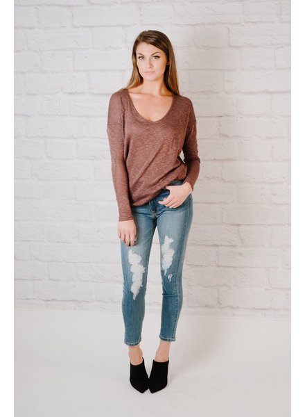 Sweater Eggplant Thin Knit Top