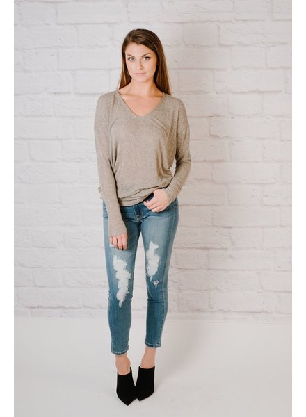 Sweater Mocha Thin Knit Top