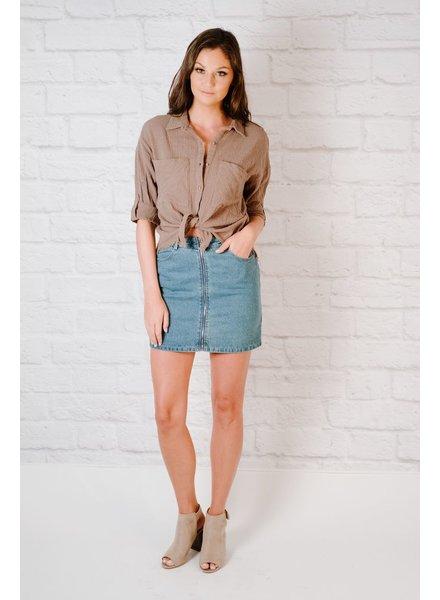 Casual Zip Up Mini Skirt