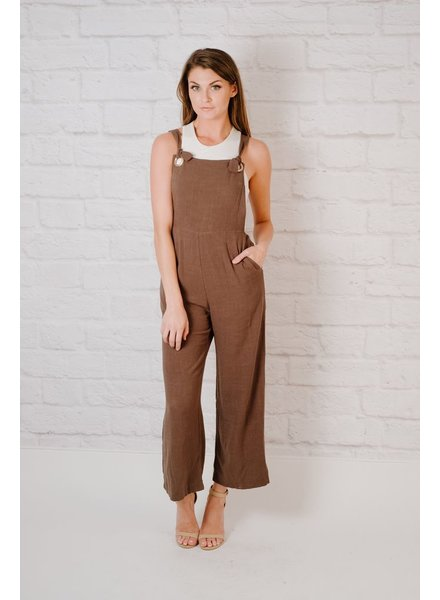Cropped Woven Overalls