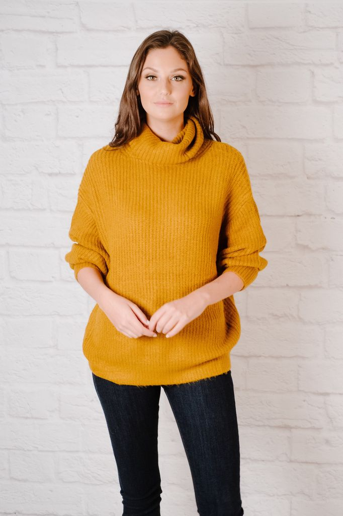 Sweater Chunky Cowl Neck Sweater