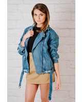 Lightweight Denim Moto Jacket