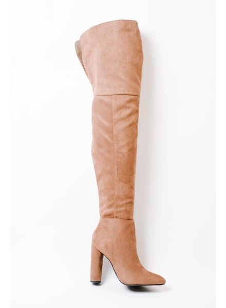 Boot Brown OTK Cylinder Heel Boot