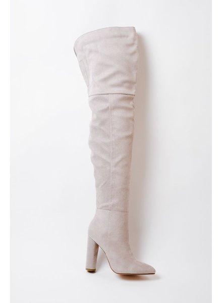 Boot Grey OTK Cylinder Heel Boot