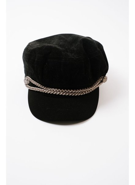 Hat Velvet Braided Cap