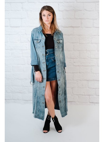 Long Denim Trench Coat