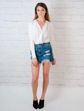 Skirt Destroyed Denim Skirt