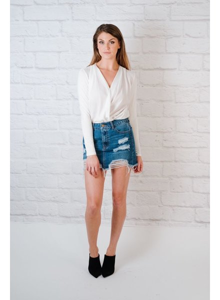 Skirt Destroyed Denim Skirt