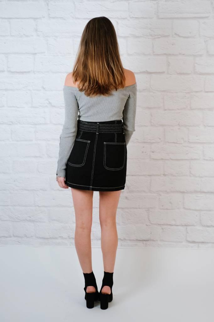 Skirt Contrast Tie Waist Skirt