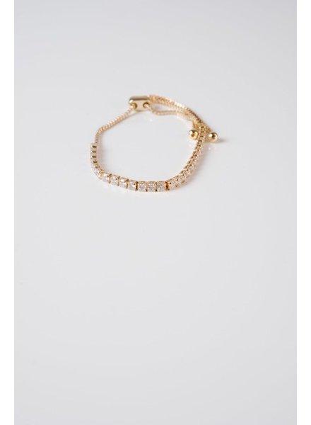 Gold Square Rhinstone Bracelet
