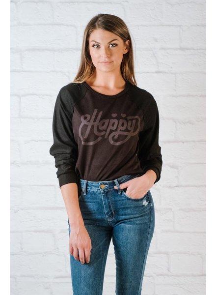 Sweatshirt Happy Raw Edge Sweatshirt