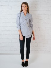 Blouse Pinstripe Diagonal Button Down
