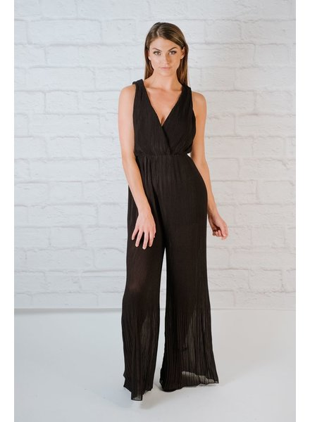 Dressy Onxy Pleated Jumpsuit
