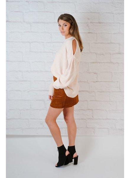 Knit Chenille Cold Shoulder Knit