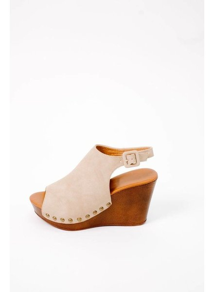 Wedge Taupe Studded Wedge