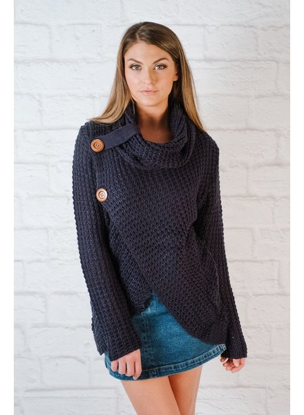 Sweater Wood button cowl knit
