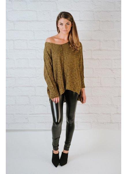 Sweater Olive front seam v-neck