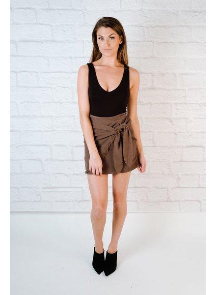 Skirt Fray Hem Wrap Skirt