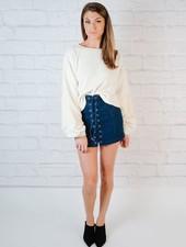 Skirt Laced Denim Mini