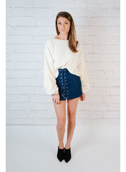 Skirt Laced Denim Mini