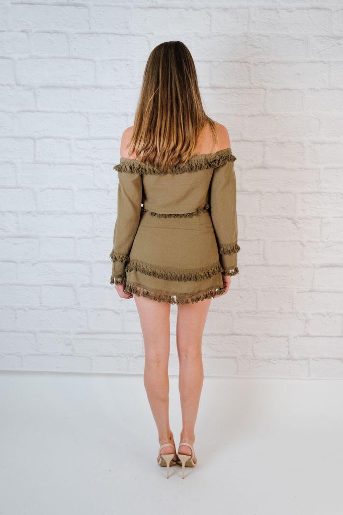 Skirt Olive fringed mini