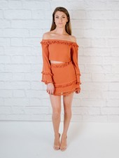 Skirt Brick fringed mini