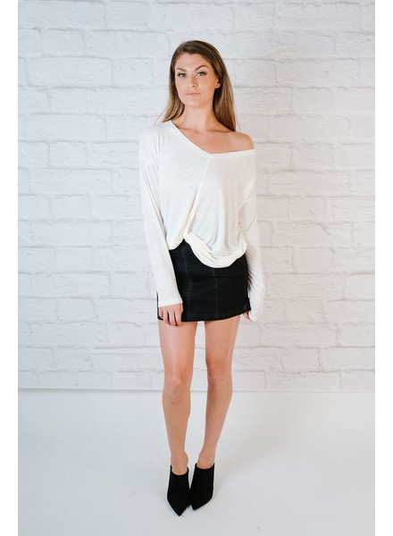 T-shirt Ivory Twist Front Tee