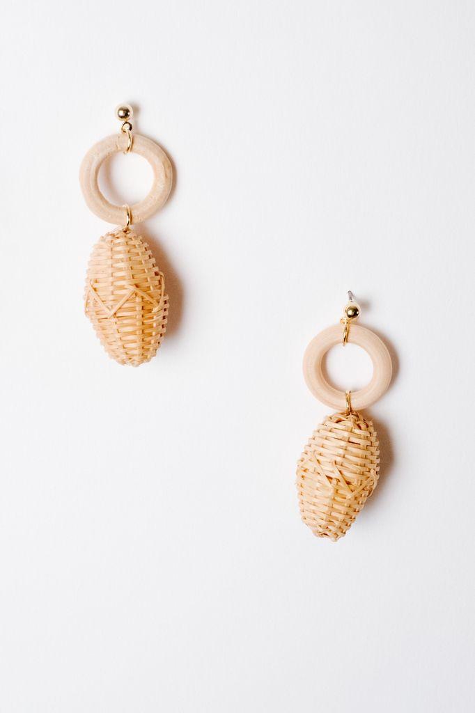 Trend Wooden Ring Drop Earrings