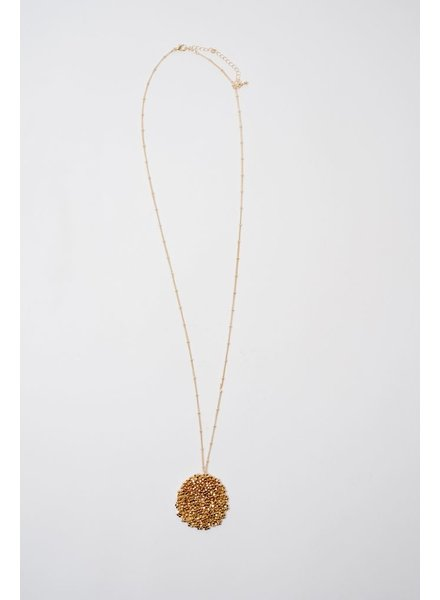 Long Gold Mesh Beaded Disk