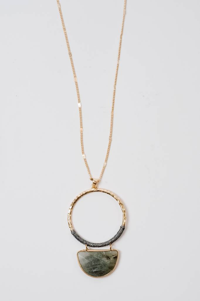 Long Threaded Ring Pendant Necklace