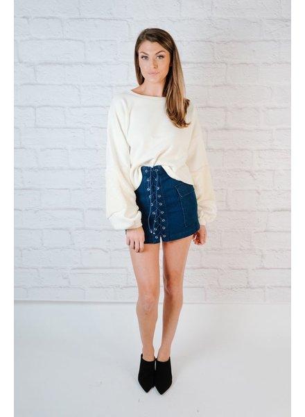 Sweater Fuzzy Balloon Sleeve Knit