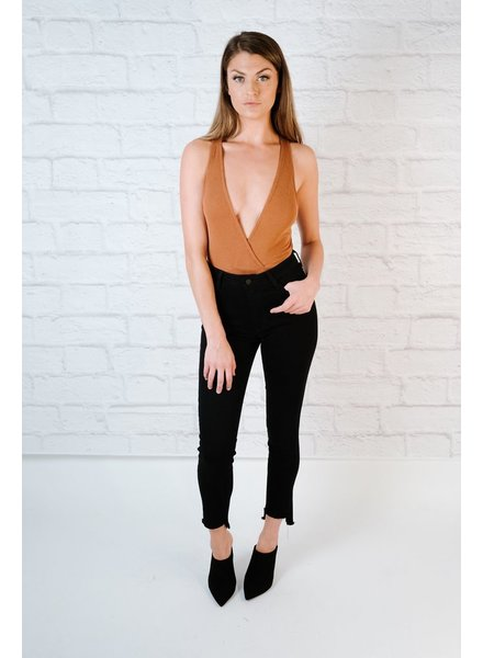 Bodysuit Ribbed V-Neck Bodysuit