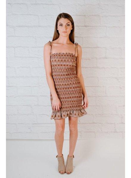 Mini Check Smocked Dress