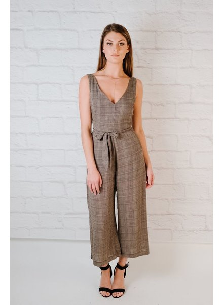 Jumpsuit Plaid Cutout Jumpsuit