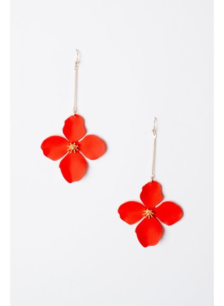 Trend Red Flower Drop Earrings