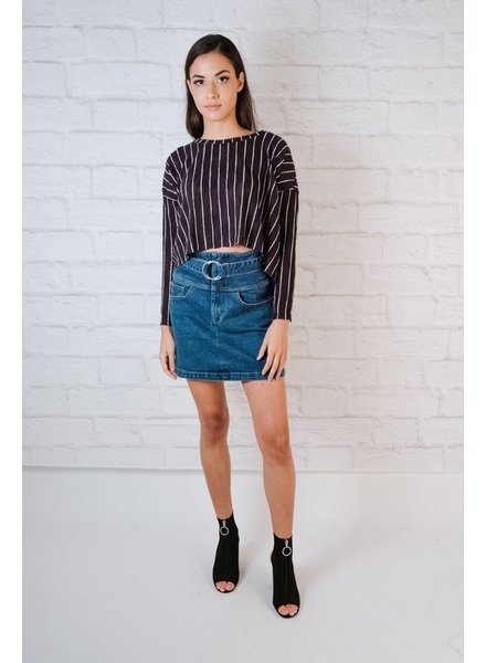 Sweater Textured stripe high/low