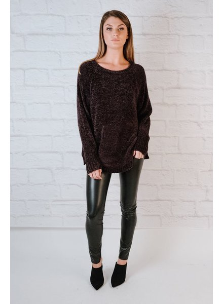 Sweater Chenille Side Eyelet Knit